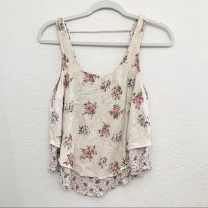 Mossimo Floral Tan Summer Tank Top